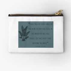 'John Zipper Pouch by JibbJab Framed Prints, Canvas Prints, Art Prints, John 16 33, Overcome The World, Take Heart, Glossier Stickers, Cotton Tote Bags, Gifts For Family