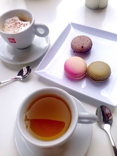Cappuccino, green tea with mint, and our irresistible rose, pistachio, and chocolate infused macarons. Did we mention they're gluten-free? French Cafe, Pistachio, Gelato, Macarons, Cravings, Panna Cotta, Gluten Free, Mint, Tea