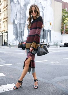 A striped midi dress with heels and statement sunglasses