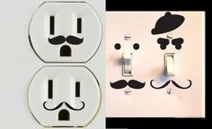 Vinyl Mustache Decor Set of 30 for Wall Outlets by NewYorkVinyl, $10.95