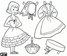 Typical German doll to play dress up coloring page