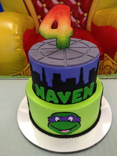 Naven's Teenage mutant ninja turtle cake. Made by O' So Yummy Cakes in Hilliard, OH