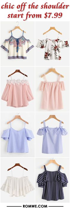 chic off the shoulder from $7.99 - romwe.com Indian Fashion Dresses, Girls Fashion Clothes, Teen Fashion Outfits, Trendy Fashion, Boho Fashion, Girl Fashion, Clothes For Women, Crop Top Outfits, Cute Casual Outfits