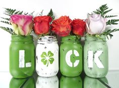 LUCK, Green Vase Set, Hand Painted, Rustic Mason Jar Decor | Home Decor -- Tabletop Centerpiece
