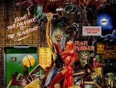 """Iron Maiden """"Bring Your Daughter to the Slaughter"""" EMI 171 Vinyl Single UK Pressing Cover Art by Derek Riggs Iron Maiden Cover, Iron Maiden Album Covers, Iron Maiden Albums, Iron Maiden Band, Bruce Dickinson, Dave Murray, Heavy Metal Bands, Twisted Metal, Led Zeppelin Cover"""