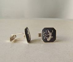 Vintage Cufflinks Nielloware Mens Jewelry Shirt and Tie Siam