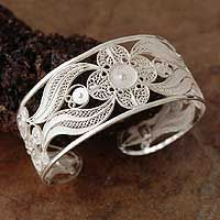 Silver filigree cuff bracelet, 'Snow Blossom' from @NOVICA, They help #artisans succeed worldwide.