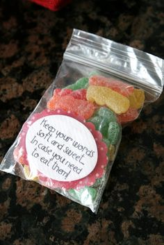 Maybe For Fhe.A treat idea for talking kindly to each other (use with rice experiment, ,etc. could take a trip to the store to get it (or anything sweet). speak kind words to others - Sour Patch Kids candy. see kind words quotes on that board