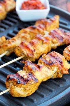 Grilled Tandoori Chicken Kabobs with Hot Lime Pickle and Roti