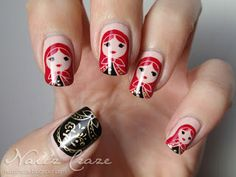 I love Matryoshka dolls and wish my nails were long enough for this cute design. From Nailz Craze: Matryoshka Dolls Nails