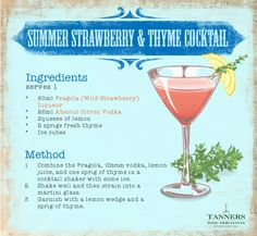 Combining sweet #strawberry tastes with #zesty citron vodka and a sense-stimulating hit of thyme, this #summertime thirst quenching #cocktail has it all!