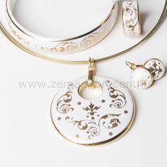 Fehér barokk kerek ZEMA porcelán ékszer szett Washer Necklace, Jewelry, Fashion, Jewlery, Moda, Jewels, La Mode, Jewerly, Fasion