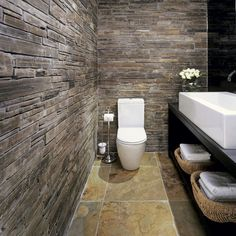 The best bathroom design and decorating ideas for 2019 from Ideal Home's editors. Design your perfect bathroom or shower space for any style and budget. Rustic Bathroom Designs, Eclectic Bathroom, Modern Bathroom, Small Bathroom, Bathroom Gray, Bathroom Wall, Bad Inspiration, Bathroom Inspiration, Brick Bathroom