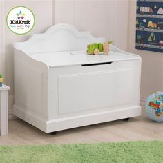 Kidkraft 14972 Kids Raleigh Wooden Toy Box Storage Chest On Caster Wheels White