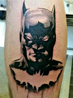 Batman leg tattoo