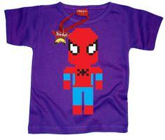 Designer Stardust Lego Spiderman T-shirt in purple. Age 7-8 yrs | eBay