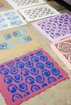 Block printing basics (aka linocut and lino printing) let you create designs from simple patterns to layered illustrations with just a few simple tools. Textiles, Foam Stamps, Linoleum Block Printing, Pattern Art, Pattern Designs, Stamp Making, Linocut Prints, Repeating Patterns, Fabric Painting