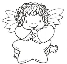 Use free angel applique patterns to sew an angel to your little ones bib or stitch an angel to a shirt. Create a quilted wall hanging with an angel in a country style. Angel Coloring Pages, Cool Coloring Pages, Christmas Coloring Pages, Printable Coloring Pages, Adult Coloring Pages, Coloring Books, Angel Outline, Baby Embroidery, Outline Drawings
