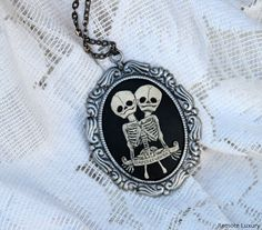 Conjoined Twins Cameo necklace Steampunk Victorian by RemoteLuxury