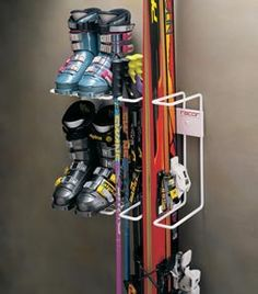 Ski and Boots Storage Wall Rack  | Two Pairs #skistorage #skibootstorage #storeyourboard