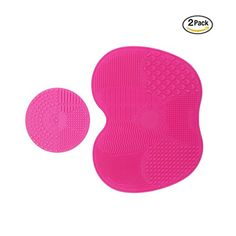 Codream 2 Pcs Makeup Brush Cleaning Mats Silicon Brush Cleaner Pad Includes 7 Suction Cups on the Back 1 Apple Shaped Large Mat1 Round Shaped Mini Mat Pink >>> To view further for this item, visit the image link.
