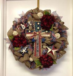 Patriotic Rustic Burlap Wreath by DazzlemeWreaths on Etsy, $150.00