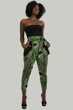 Great cut on these pants   Afromania Printed Fringed Pocket Slacks, available from sapelle.com