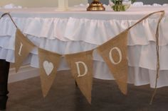 Burlap banner I Do with heart Wedding by butterflyabove on Etsy, $20.00