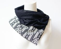 Black and White Tribal Scarflette Cowl Scarf by Felinus on Etsy