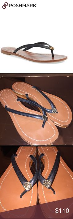 Tory Butch Terra Black Leather Gold Logo Sandals A polished logo medallion tops a stylishly casual flip-flop with high-gloss calfskin-leather straps and a logo-embossed footbed. Leather upper and lining/rubber sole. By Tory Burch; made in Brazil. Salon Shoes.  Size 8.5. Wore once. Like new. Small nick from sticker tag Tory Burch Shoes Sandals