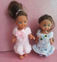 """Poppy 4"""" Dolls Dress To fit  4 - 4.5"""" tall doll 4 ply yarn 3.25 mm knitting needles Cast on 40 stitches Knit 2 rows Next row..."""