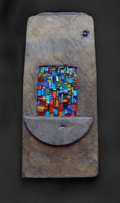 Secret Cargo: Helen Nock / Secret Cargo 2012 / Cornish Delabole slate, Smalti, stained and sea glass. 47 x 21 cm / Flickr // Souls Stones