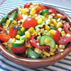 Skinny Corn, Cucumber And Tomato Salad Recipe salad, dairy free, gluten free, low fat, nut free, sugar free, vegan, vegetarian, labor day, memorial day, mothers' day, lunch with 8 ingredients Recommended by 6 users.