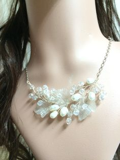 Bridal necklace wedding jewelry wedding necklace by FlowerRainbow