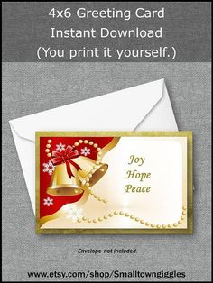Printable Christmas Greeting Card Red Gold Gold Bells Joy
