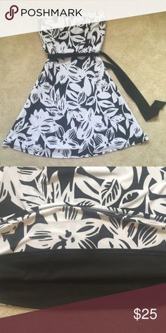 """White House Black Market strapless dress Size small, but could work for a medium. Flowy material, fully lined (see 2nd pic).  Cute tie at waist. Excellent used condition. 15""""across chest, 29"""" from top to bottom. White House Black Market Dresses Strapless"""
