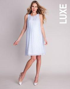 Pure Silk Baby Blue Polka Dot Maternity Dress >>> www.seraphine.com #Seraphine #MaternityDress #Fashionista #PreggoStyle