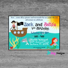 Twin Pirate Mermaid Birthday Invitation; Boy Girl Party by JSdayDesigns on Etsy https://www.etsy.com/listing/245813147/twin-pirate-mermaid-birthday-invitation