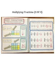 Common Core Interactive Math Notebook- Fractions Edition for Grade at Create●Teach●Share Teaching 5th Grade, Fifth Grade Math, Teaching Math, Math Notebooks, Interactive Notebooks, Gcse Math, Maths, Math Fractions, Multiplication