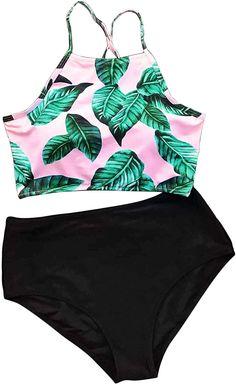 7a31ecda5aece5 Amazon.com  Seaselfie Women s Leaves Printing High-Waisted Halter Swimwear  Beach Bikini  Clothing. Bikini BeachBikini SetTankiniBathing SuitsPrinting Bikini ...