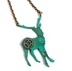Steampunk patina deer necklace | $35 on www.runwildhorses.com.au  ©Run Wild Horses