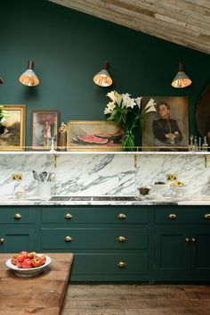 12 Of The Hottest Kitchen Trends – Awful or Wonderful? Bring it on, I respond. devol kitchens forest green cabinets marble and a shelf with art - Painted Colorful Kitchen Cabinets Green Kitchen Cabinets, Kitchen Cabinet Colors, Kitchen Colors, New Kitchen, Kitchen Dining, Brass Kitchen, Kitchen Ideas, Kitchen Updates, Dark Cabinets