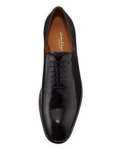 Black Carmelo Tramezza Lace-Up Oxford Shoes by Salvatore Ferragamo