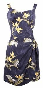 """Paradise Found """"Bamboo Paradise"""" Sarong Tie Dress in Navy"""