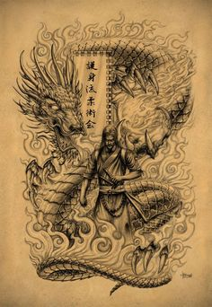 Full back piece design for my Ju Jitsu sensei, original pencils cover a full A2 sheet. This will probably take at least 60 hours of tattooing, starting in December. By far my most ambitious tattoo ...