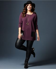 Fall Trend Report Plus Size Look of Leather Sweater & Leggings Look – Plus Sizes… – Women Fashion Plus Size Fall Outfit, Plus Size Fashion For Women, Plus Size Outfits, Plus Size Winter Outfits, Curvy Outfits, Mode Outfits, Fall Outfits, Grunge Outfits, School Outfits