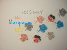 Manualidades: CROCHET (Mini Mariposa) DIY - Crafts: CROCHET (Mini Butterfly)
