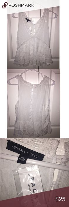 VCUT Button up Back Tank V cut cropped in front, button up back. white tank by kendall and kylie from pacsun. never worn Kendall & Kylie Tops Tank Tops
