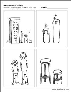 Short A Worksheets Kindergarten Free Printable Worksheets On Measuring Sizes Tall and Short Short I Worksheets, Fun Worksheets For Kids, Kindergarten Addition Worksheets, Printable Preschool Worksheets, Math For Kids, Preschool Writing, Preschool Learning Activities, Free Activities, Blog