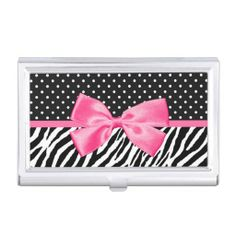 A trendy black and white zebra print with a chic polka dot pattern business card case embellished with a stylish hot pink ribbon tied into a cute girly bow. This modern and girlie animal print and polkadot fashion accessory is a flat printed image and does not contain an actual ribbon. Original Art copyright of ©GirlyBusinessCards